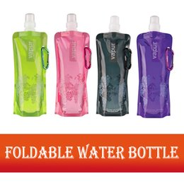 Discount foldable environmental bags - 480ml Portable Folding Foldable Water Bottle Durable Outdoor Sports Water Bottle Bag Travel Hiking Environmental BPA Fre