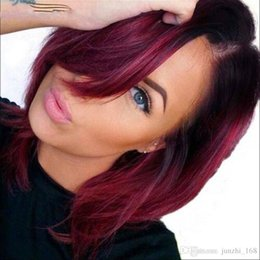 Chinese  .Fantastic Nice Piano Color Black And Burgundy Short Straight Bob Synthetic Hair Wigs For Black Women Cheap Straight Wave Ombre Hair Wig manufacturers