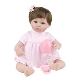 $enCountryForm.capitalKeyWord NZ - 45CM Simulation reborn baby body cloth silicone doll tutor maternal and child photography training props(DOLL + clothes + bottle + nipple)