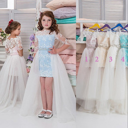 fairy princess flower girl dresses Australia - Lace High-low Flower Girl Dresses With Tulle Over-Skirt Bateau Half Sleeves Beaded Birthday Party Dress Fairy Princess Girls Pageant Dress