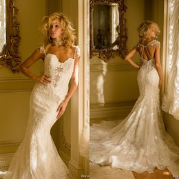 5f041198affe Eve Milady Bridal Canada - Eve of Milady Sheer Lace Wedding Dresses 2018  Full Cap Sleeves