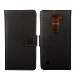 """Black Wallet Id NZ - 1PCS New Black Genuine Leather Folding Pouch ID Wallet Book Protection Case for LG Spirit 4G LTE H440 (4.5"""") with Card Holder"""