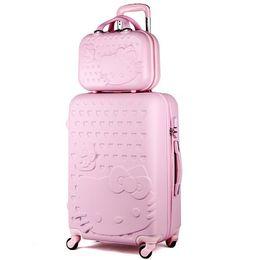20inches Привет Китти путешествия-интерната чемодана, женщины высокое качество прочный ABS колеса тележки багажа окно, красочные