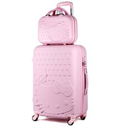 20inches Hello Kitty Boarding Travel Suitcase, Women High Quality Rugged ABS Wheels Trolley Luggage Box, Colorful