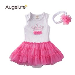 girl tutus one piece dress Canada - 2019 Summer Baby Girls Romper %100 Pure Cotton Crown One Piece Tutu Dress Jumpsuits With headband Set Toddler Rompers Clothes Retail AB39