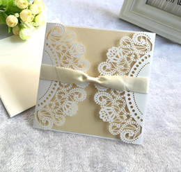 Bridal Invitation Cards Canada - affordable laser cut birthday party invitations bridal shower invitation cards with envelope and blank card 200pcs lot wholesales