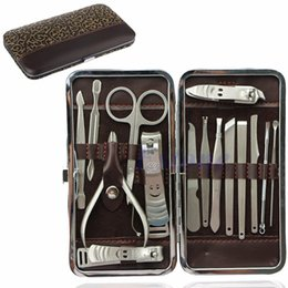 Kit clean nails online shopping - 15pcs Pedicure Manicure Set Nail Clippers Cleaner Cuticle Grooming Kit Case New Nail Care Tools Good Quality