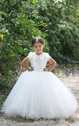 flowers for ivory wedding dress Australia - White Ivory Flower Girl Dresses For Wedding Short Sleeves Appliques Handmade Flower Holy Communion Gowns Wedding Party Dress