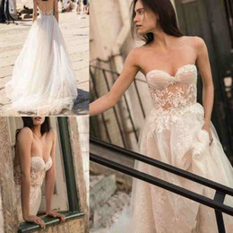 line wedding illusion neckline crystal sweetheart NZ - Romantic Sexy Wedding Dresses Plus Size 2019 Liz Martinez Strapless Sweetheart Neckline Full Lace Open Back Sweep Train