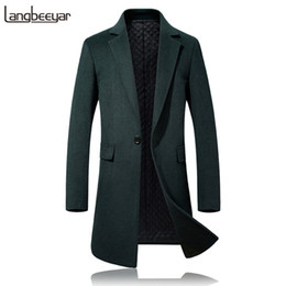 Barato 4xl Peacoat Men-2017 Top Grade New Fashion Brand-Vestuário Jacket Wool Coat Men Single Button Peacoat Negócios Casual Wool Blends Winter Men Coat