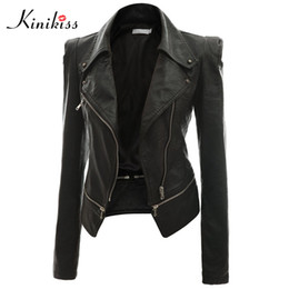 Wholesale women leather jackets for sale - Group buy Kinikiss fashion women short black leather jacket coat autumn sexy steampunk motorcycle Faux leather jacket female gothic coat