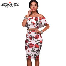 97bedc10f48 SEBOWEL Red Roses Print zweiteilige Set Rüsche off Schulter Sommer Kleid  2017 Party Club Bodycon Bleistift Midi Kleid Vestidos q1113