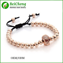 macrame bracelet connectors UK - (10pcs)BC Anil Arjandas Fashion Women Bracelet Rose Gold Skull Connector 6mm Round Beads Braiding Men Macrame Bracelet & Bangle BC-231