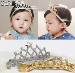 Solid boutique Style hair bowS online shopping - Baby Infant Hollow Out Crown Satin Headbands European Styles Girls Silver Gold Hair bands Children Hair Accessories Christmas boutique gift