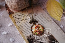 Fresh Steel Free NZ - Mascot Rabbit Fresh Pendant Necklaces mascotte Time gem glass Statement Vintage necklace Bronze Chains Mori Girl Handmade jewelry Free DHL