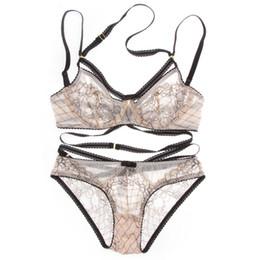 Euramerican Intimates прозрачный сексуальный комплект бюстгальтера плюс размер Женщины марлевые ультратонкий белье набор кружева выдалбливают бюстгальтер и трусики Комплект