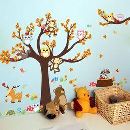 Owl Tree Branch Australia - Cartoon Forest Tree Branch Animal Owl Monkey Bear Deer Wall Stickers For Kids Rooms Boys Girls Children Bedroom Home Decor