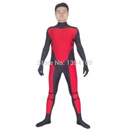 Costume Lycra Spandex Rouge Pas Cher-Red Robin Tim Drake Spandex Superhero Costume Halloween Party Costume Cosplay ZenTai