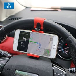 Wholesale Universal Car Steering Wheel Clip Mount Holder for iPhone Plus s Samsung Xiaomi Huawei Mobile Phone GPS