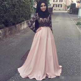 $enCountryForm.capitalKeyWord Australia - Pink Lace Muslim Mother of the Bride Formal Gowns Plus Size With Long Sleeves Arabic Women Cheap Modest Hijab Evening Dresses