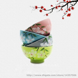 $enCountryForm.capitalKeyWord Canada - Vintage Set of Four Japanese Rice Bowl Colorful Ceramic Hand-painted Four Seasons Floral 4.5 inch Pink Blue Grey Green
