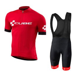 red white blue bib shorts 2019 - 2018 new! Pro Team Cube Cycling Jersey Ropa Ciclismo summer Quick-Dry Sports Jersey short sleeve bib shorts Cycling Clot