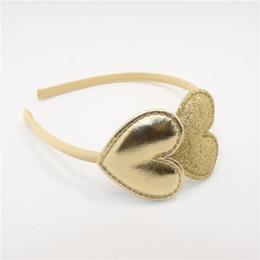 Valentines Sweets NZ - 20pcs  Lot Metallic Gold Heart Headband Glitter Sweet Heart Hairband Vintage Girls Valentine Fashion Head Wear For Photo Prop