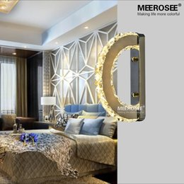 Modern LED Wall Light Fixture Crystal Wall Sconce Lustres D Shape Mirror  Stainless Steel Beside Lamps For Bedroom Bathroom Cheap Crystal Bathroom  Light ...