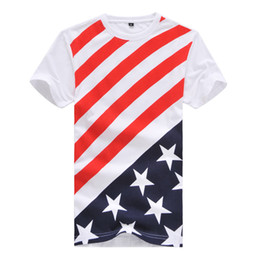 China Wholesale-2016 Brand Mens T Shirts Striped American Flag Short Sleeve T-shirt Cotton Soft Summer Tees Plus Size M-4XL, WA568 cheap wholesale american flag sleeve suppliers