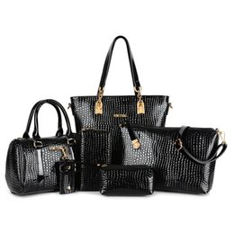 Discount crocodile grain handbags - Wholesale-6 picecs bags  lot !!! Wholesale price bags for 2015 new European and American fashion handbags crocodile grai