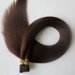 China Pre bonded I Tip Brazilian human Hair Extensions 100g 100Strands 18 20 22 24inch #4 Dark Brown Indian straight Hair products supplier peruvian i tip hair extensions suppliers