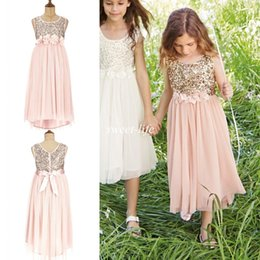 Tul De Cabrito Baratos-2015 Blush Flower Girls Vestidos Gold Sequins Hecho a mano Flower Sash Té Longitud Tulle Jewel Una línea de los niños Vestido formal Junior Vestido de dama de honor