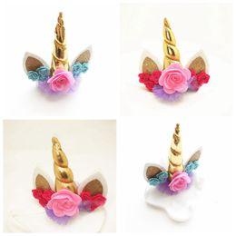 $enCountryForm.capitalKeyWord NZ - Unicorn Horn Headwear Kids Infant Cartoon Hair pin Bonus DIY Hairband hairpin Halloween Christmas Hair Decorative