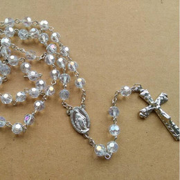 $enCountryForm.capitalKeyWord Canada - Religious Jewelry Fashion Metal Long Design Cross Pendant 8 mm White Crystal Rosary Necklace For Women