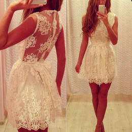 $enCountryForm.capitalKeyWord NZ - Vintage Ivory Lace Homecoming Dresses A Line Crew Neck Illsuion Back Cheap Custom Made Short Prom Party Gowns Inexpensive High Quality