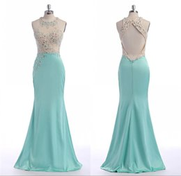 Barato Manto De Cetim China-Hunter Long Turquoise Evening Dresses Mermaid Luxury Beading Feito para encomendar Satin Backless Big Ass Sexy Robe De Soiree Roupa barata China