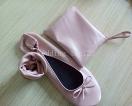 Fabric Sold Roll Canada - 2018 Hot Sell Ballerina Roll up Shoe for Wedding Gift, Foldable Shoe for Wedding Gift, Fold up Shoes with Bag
