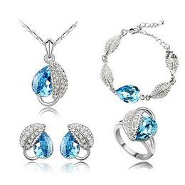 $enCountryForm.capitalKeyWord NZ - High Grade Full Diamond Crystal Necklace Earrings Bracelets Rings Sets Austria Crystal Pendant Cheap Jewelry Sets For Women 4172