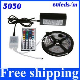Strip home online shopping - 5M leds Flexible RGB LED Strip Light Non Waterproof Keys Remote A Power Supply For Home Garden Decoration