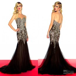 Perles De Diamants En Robe Noire Pas Cher-Fantastique Black Diamond perles Tulle Tissu sirène Pageant billes Robes Bling Robes Soirée Porter Red Carpet Dress Celebrity