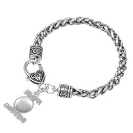 Alloy Sports Canada - Designer Bracelet Zinc Alloy Antique Silver Plated Enameled Baseball Sports Pendant Link Chain Gift Pendant Bodybuilding Bracelets