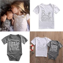 f38e5e517b72 INS hot Baby Girls Boys Matching Outfits Big Sisters Letters Print T shirt+ Little Brother Rompers Cute Summer Family Suits Clothing A08