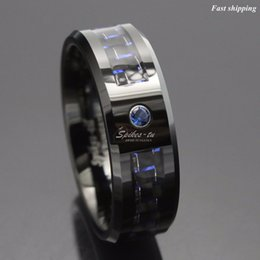 Wholesale Black And Blue Carbon Fiber Tungsten Ring Mens Jewelry Wedding Band Free Shipping