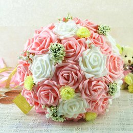 $enCountryForm.capitalKeyWord Canada - Sweet Pink And White Artificial Rose Wedding Bouquets With Babysbreath Romantic Bride Bridesmaid Flowers With Ribbon Unique Cheap Bouquets