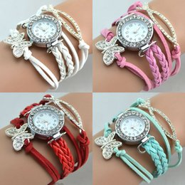 chain wrap watches NZ - Infinity Watch Wrap Watch Fashion Bracelets Watches Diamonds Butterfly Charms Wrist Watches Women Quartz Watches Round Case Free Shipping