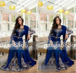 ElEgant kaftan abaya online shopping - Muslim Elegant Royal Blue Luxury Crystal Formal Evening Dresses Applique Lace Abaya Dubai Kaftan Long Plus Size Formal Dresses Party