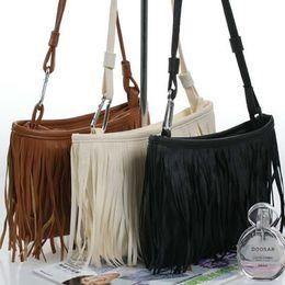 Discount wholesale leather fringe bags - Wholesale-2016 Cute Fashion Womens Vintage Faux Suede Fringe Tassle PU Leather Satchel Shoulder Handbag Crossbody Bag Fo