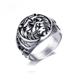 $enCountryForm.capitalKeyWord NZ - Bulk Wholesale Fashion Mens Punk Ring Retro Style Animal Lion Head Dia Casting Stainless Steel Ring Biker Rock Men Jewelry With High Quality