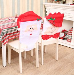 Christmas Decorations Red Snowman Santa Claus Hat Chair Cover For Hotel Home Dinner Party Holidays Seat Back Table