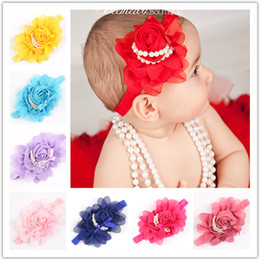 vintage flower wholesale headbands Canada - Newest Baby Girls Roses Pearls Hair Bands Vintage Flowers Hair Accessories For Kids Pretty Headbands Infant Headbands 12 Color 10pcs lot